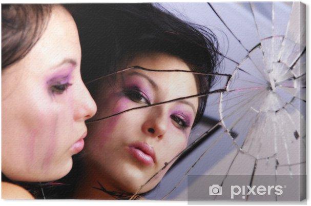 Tableau sur toile Emo sexy fille pleurant avec la réflexion dans le miroir - Thèmes