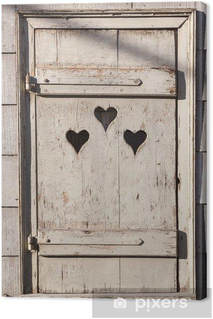 Tableau sur toile En forme de coeur donnent sur la porte en bois à Outhouse. - Bonheur
