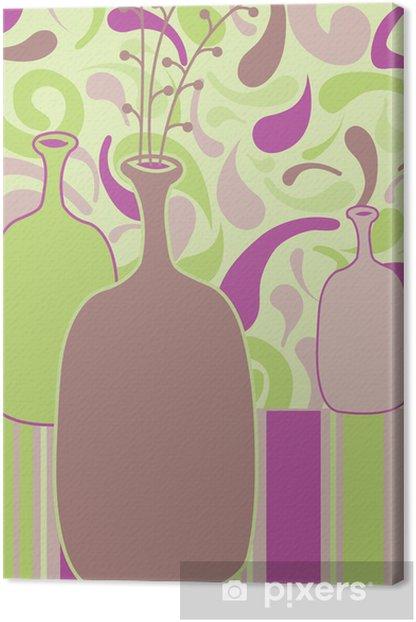 Tableau sur toile Encore la vie illustration vectorielle avec bouteilles - Art et création