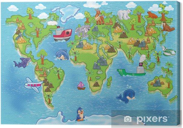 Tableau sur toile Enfants carte du monde - iStaging