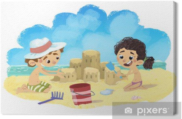 Tableau sur toile Enfants jouant sur la plage - Vacances