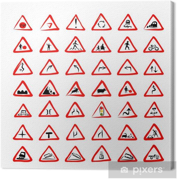 Tableau sur toile Ensemble de 42 panneaux de signalisation croquis de votre conception - Signes et symboles