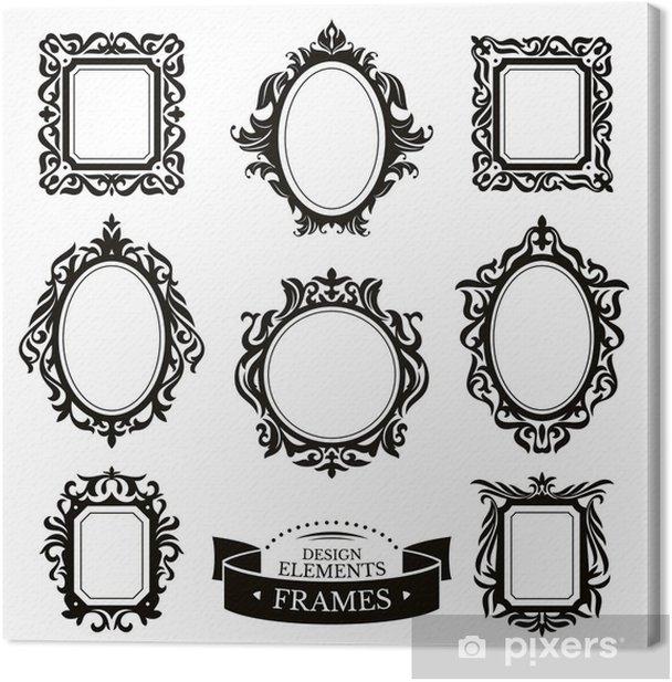 Tableau sur toile Ensemble de cadres baroques d'époque - Signes et symboles