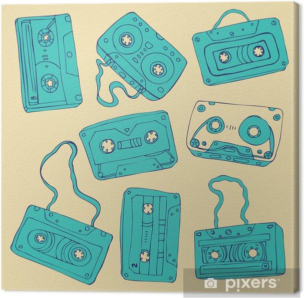 Tableau sur toile Ensemble de cassettes rétro - Musique