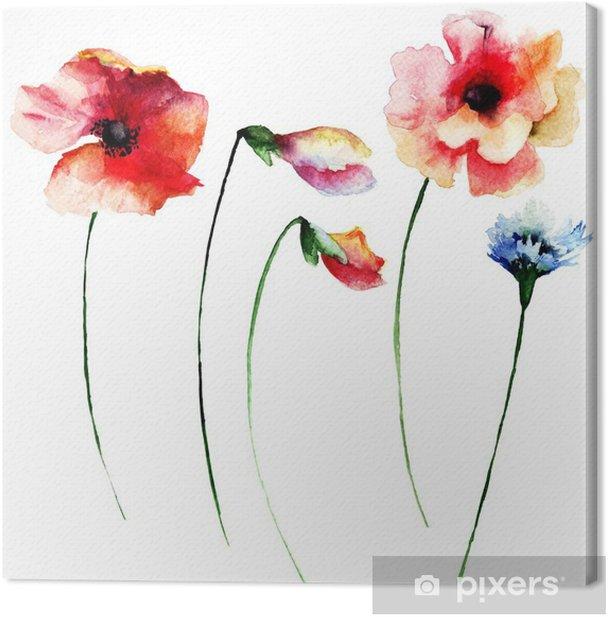 Tableau sur toile Ensemble de fleurs à l'aquarelle d'été - Fleurs et plantes