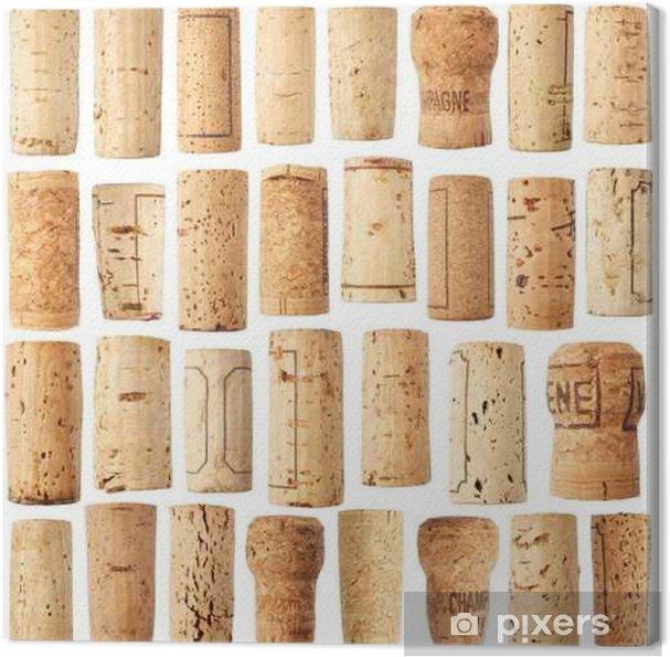 Tableau sur toile Ensemble de liège vin - Boissons