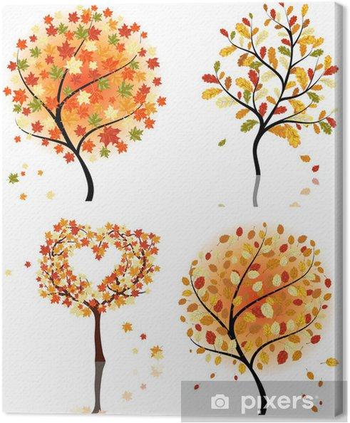 Tableau sur toile Ensemble de quatre arbres d'automne - Saisons