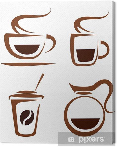 Tableau sur toile Ensemble de vecteurs de tasses à café d'icônes - Boissons chaudes