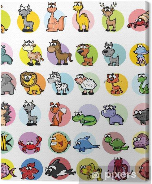 Tableau sur toile Ensemble des animaux de dessin animé - Mammifères