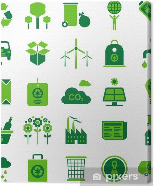 Tableau sur toile Environnement vert et icônes de recyclage - Ecologie