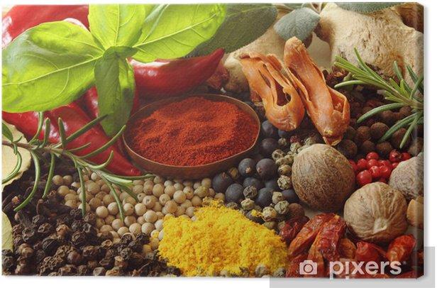 Tableau sur toile Épices et fines herbes - Epices, herbes et condiments