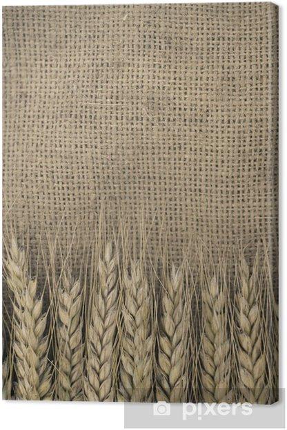 Tableau sur toile Épis de blé frontière sur fond de toile - Agriculture