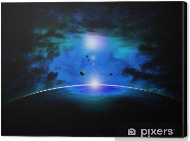 Tableau sur toile Espace nebuleuse bleu - Espace