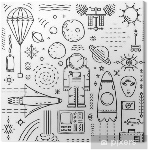 Tableau sur toile Espace Planètes Etoiles Cosmonaut Conception Monochrome Elements Ligne - Science