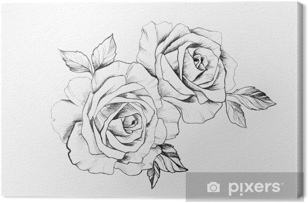 Tableau sur toile Esquisse d'une branche de belles roses sur fond blanc. - Passe-temps et loisirs