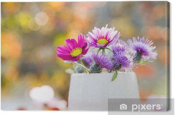 Tableau sur toile Et tasse de fleur - Fleurs