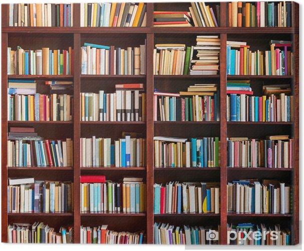 Tableau sur toile Étagère pleine de livres - Bibliothèque