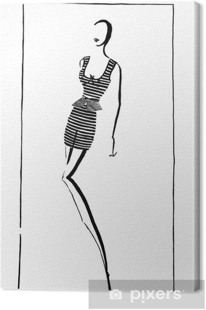 Tableau sur toile Été court mini robe en 90 années - Mode