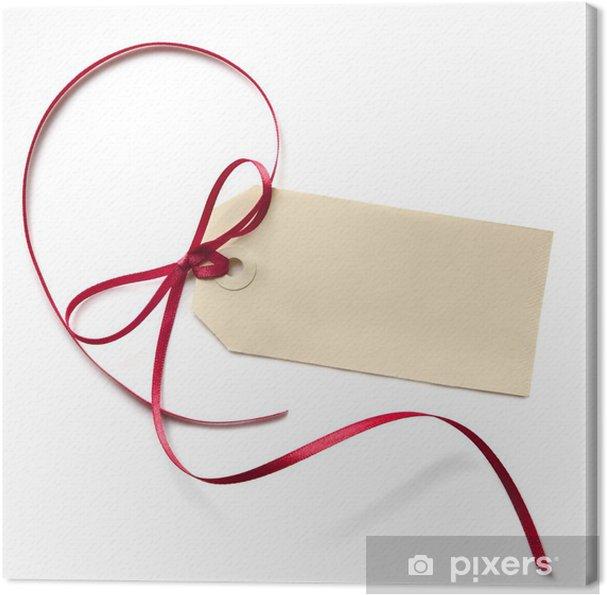 Tableau sur toile Étiquette de cadeau blanc avec ruban rouge - Cartes de vœux