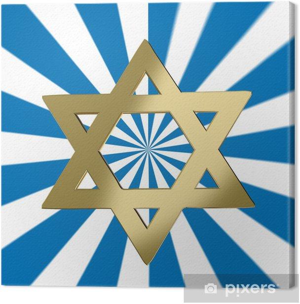 Tableau sur toile Étoile de David avec une étoile de fond - Religion