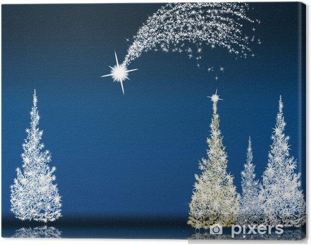 Tableau sur toile Étoile filante et l'arbre de Noël en bleu nuit - Fêtes internationales