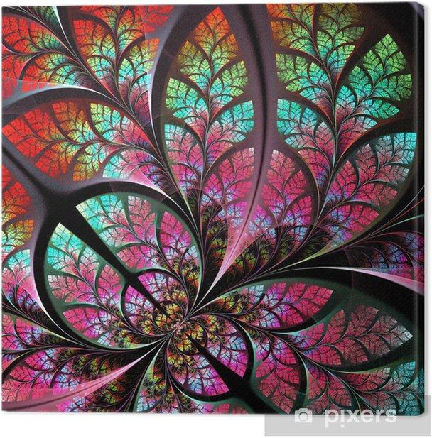 Tableau sur toile Fabuleux motif fractal en vert et rose. Fo d'arbres - Collection - Arrière plans