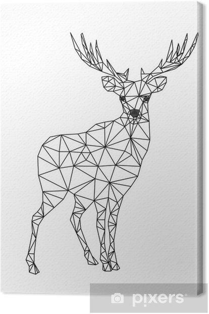 Tableau sur toile Faible caractère poly de cerfs. Designs pour noël. illustration de Noël dans le style d'art en ligne. Isolé sur fond blanc. - Animaux