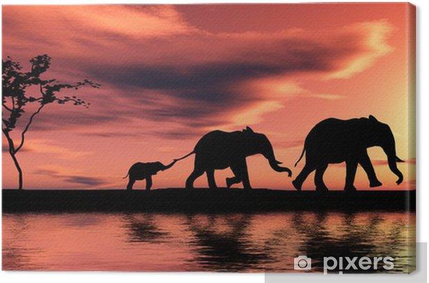 Tableau sur toile Famille d elephants - Thèmes