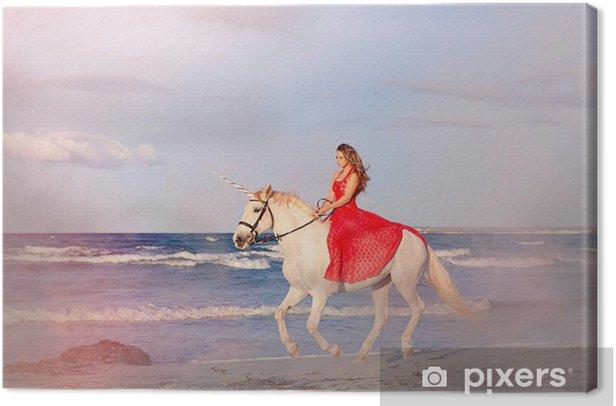 Tableau sur toile Fantasy femme sur licorne - Thèmes