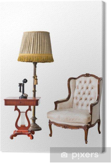 Tableau sur toile Fauteuil vintage et téléphone isolé avec chemin de détourage - Maisons et jardins