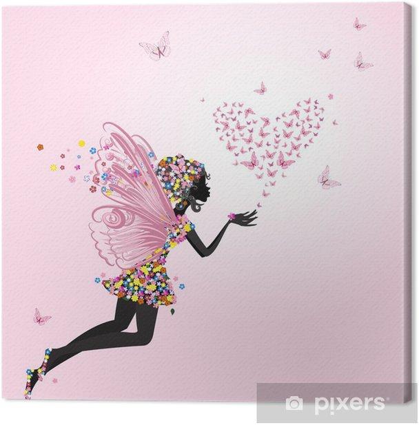 Tableau sur toile Fée avec un valentine de papillons -