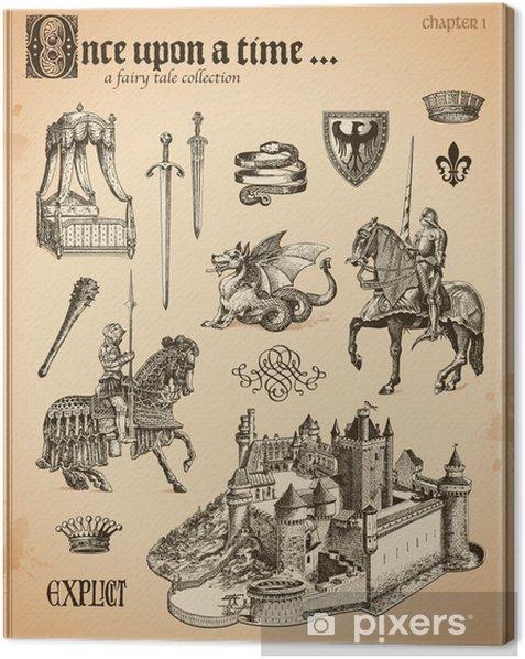 Tableau sur toile Fée collection de conte avec des chevaliers et du château médiéval - Art et création