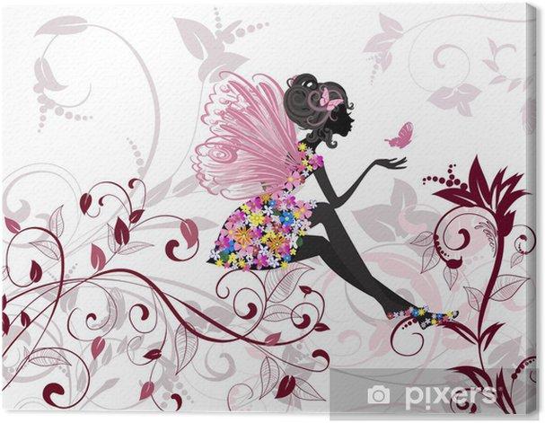 Tableau sur toile Fée de fleur avec papillons -