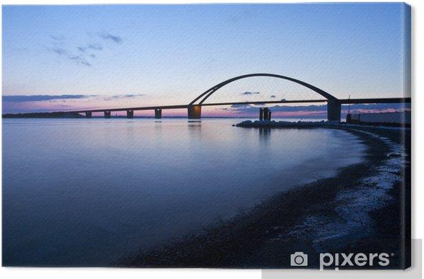 Tableau sur toile Fehmarnsundbrücke soir d'hiver - Infrastructures