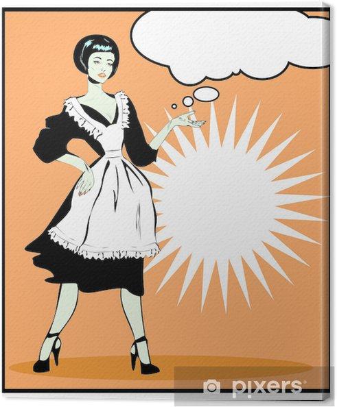 Tableau sur toile Femme au foyer utiles - Rétro Clip Art dans le style vintage popart - Au travail