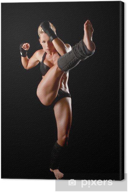Tableau sur toile Femme Avec Boxing Gear - Thèmes