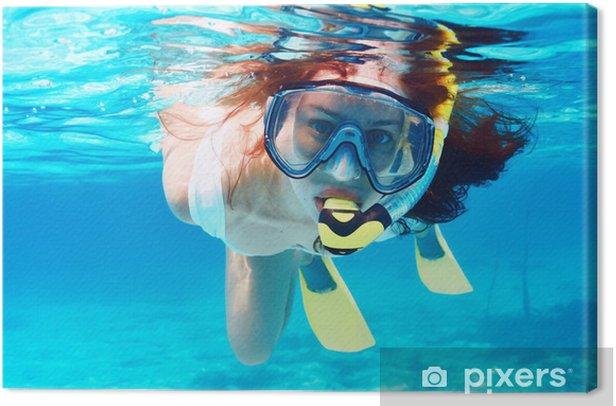 Tableau sur toile Femme avec le masque plongée en apnée - Vacances