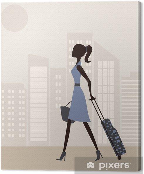 Tableau sur toile Femme avec suitcase.Vector - Amérique