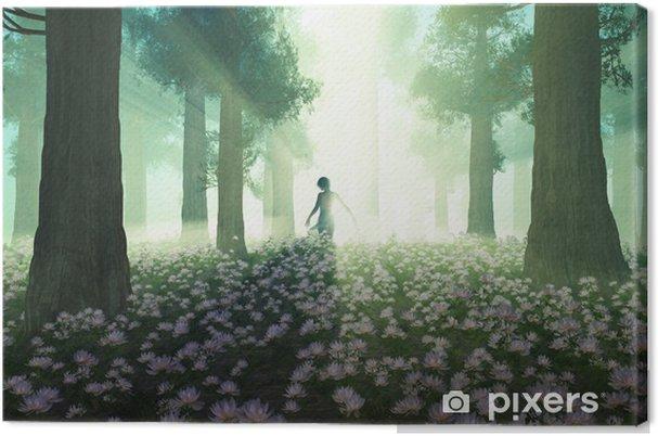Tableau sur toile Femme dans la forêt matin - Autres sentiments