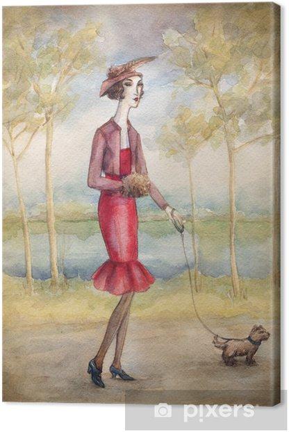 Tableau sur toile Femme en robe avec un chien - Art et création