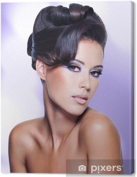 Tableau Sur Toile Femme Glamour Avec Coiffure Bouclee Moderne
