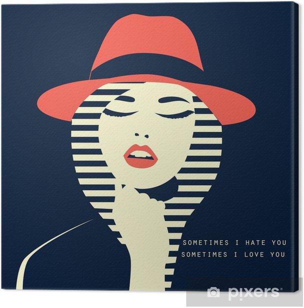 Tableau sur toile Femme sexy stylisé avec cabane - Personnes