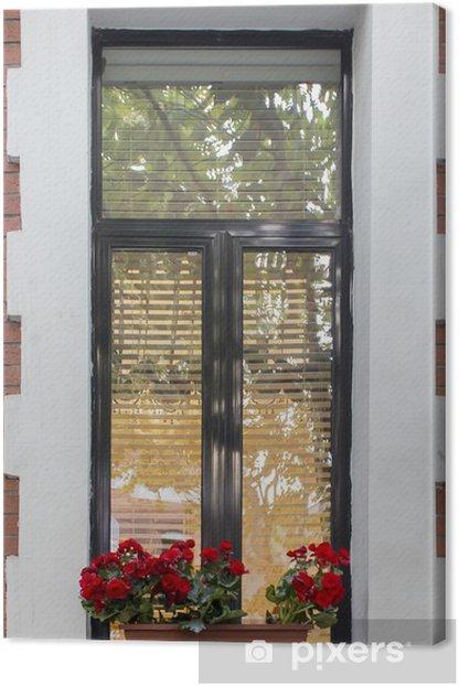 Tableau sur toile Fenêtre avec pot de fleur - Asie
