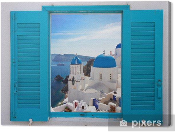 Tableau sur toile Fenêtre avec vue sur la caldeira et de l'église, Santorini - Thèmes