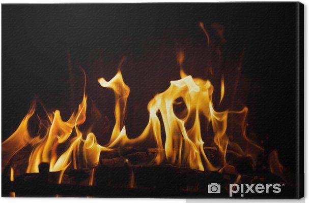 Tableau sur toile Feu dans la cheminée - Textures