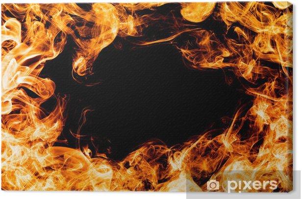 Tableau sur toile Feu de flammes sur fond noir, cadre, frontière. - Catastrophes naturelles