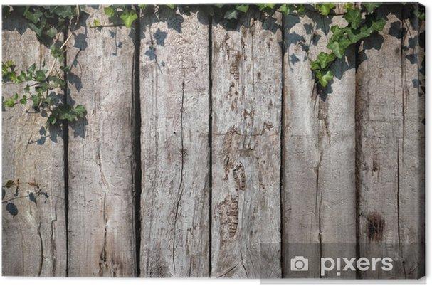 Tableau sur toile Feuilles sur fond de bois - Maisons et jardins