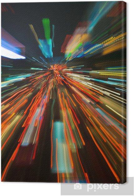 Tableau sur toile Feux de circulation dans le flou de mouvement - Sur la route