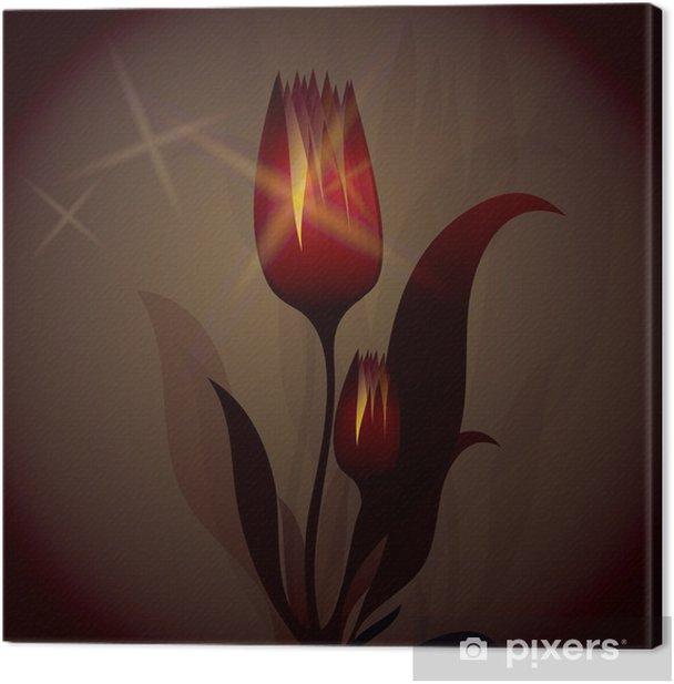 Tableau sur toile Fiery Tulip brille / Arrière-plan magique - Arrière plans