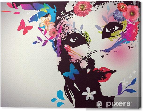 Tableau sur toile Fille avec le masque / Vector illustration - Mode